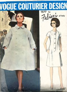 1960's VTG VOGUE Couturier Design Dress and Coat by Fabiani Pattern 1577 S 14 Sept'13 for 64.99+2.25