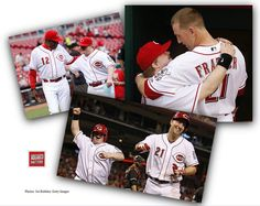 A Feel-Good Weekend Send-off!! Here's Teddy Kremer, a 30-year-old with Down syndrome, being cherished for the great guy he is, as honorary batboy last night for the Red's game in Cincinnati against the Marlins. At left, Teddy is given a pat of encouragement by Reds' manager, Dustin Baker. Right, and below, Teddy is given a post-game hug by third baseman Todd Frazier.