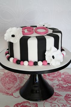 Monochrome 30th cake