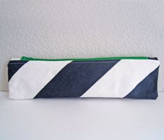 """Wide pouch bag. It measures approx. 11 1/2"""" wide and 3 1/4"""" tall. Great for storing longer items like make up brushes or combs, pencils or paint brushes, scissors, etc. Allow 10-15 business days for shipping."""