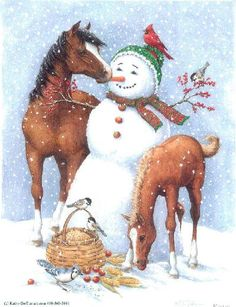 """""""Snowman with Horse and Foal"""" by Kathy Goff"""