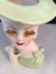 Vintage Irice Small Lady Head Vase Green Dress Hat With Gold Eyelashes  #Irice