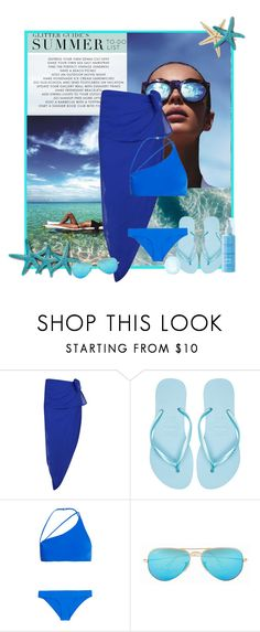 """""""Asymmetric Bikini"""" by xandriah ❤ liked on Polyvore featuring Le Specs, Boohoo, Havaianas, Zimmermann, Ray-Ban, Topshop, summer2015, bluesunglasses and blueswimsuit"""