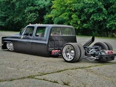 Bagged chevy diesel, dually.