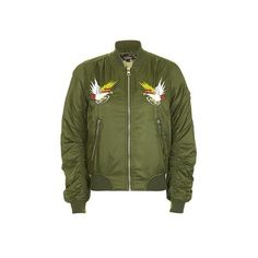 Topshop Embroidered ma1 Bomber Jacket ($18) found on Polyvore featuring women's fashion, outerwear, jackets, khaki, topshop jackets, embroidery jackets, flight jacket, pattern jacket and print jacket