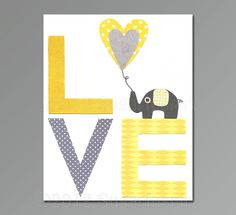 Nursery Art Print, Kids Room Decor, Baby / Children Wall Art - Love, Yellow and Grey, baby elephant by SugarInspire on Etsy https://www.etsy.com/listing/115045556/nursery-art-print-kids-room-decor-baby