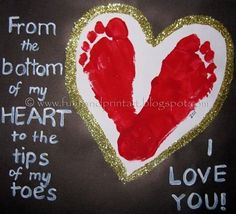 Footprint Heart Valentine's Day Keepsake: Whether your little one is a baby or toddler, this keepsake valentine will be a sure hit with relatives. Simply paint baby's feet and make a heart on a piece of paper. You can write for them, or if they're older they can write their own special message.        See more ideas on our Valentines from Kids Pinterest board.         Photo Source: LilSugar via Handprint and Footprint Art