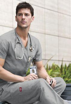 Dickies Men's V-Neck Top (Regular) in Grey from Dickies Medical Hot Doctor, Male Doctor, Medical Uniforms, Beautiful Men Faces, Medical Scrubs, Men In Uniform, V Neck Tops, Sexy Men, How To Look Better