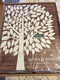 Wishwik Wood Wedding Tree Canvas | Guest Book Alternative | 100 Signature Spaces | Rustic Wedding | Customer Photo | Wedding Color - Teal | peachwik.com