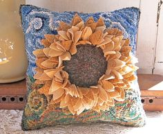Sunflower Hooked Pillow Primitive Personalized by JwrobelStudio, $135.00