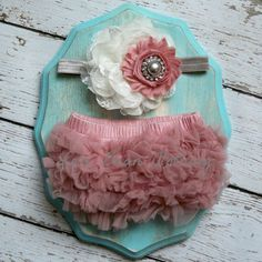 Baby Girl Dusty Rose Bloomers Vintage Pink Grey Gray Ivory Headband Set Newborn Photography Prop 0 3 6 9 12 18 months