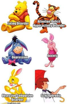 Ha! I have heard this before. All the Winnie the Pooh characters represent a disorder