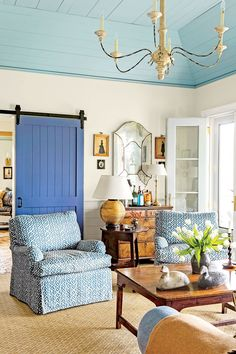 White walls Blue ceiling,
