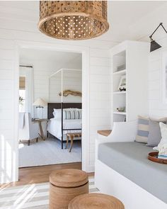 Coastal decor, beach art and furniture. You can improve the natural beauty in your home with splashes of white, as well as beach house decorating ideas. Coastal Bedrooms, Coastal Homes, Coastal Interior, Interior Ideas, Modern Coastal, Beach Interior Design, Coastal Industrial, Teen Bedrooms, Modern Bedrooms