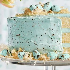 This is the Most Beautiful Easter Cake of All Time. Three layers of fluffy white cake are covered with a coconut buttercream frosting that's made with cream of coconut, butter, sugar, and blue gel food colouring. But perhaps the most impressive feature, however, is the phyllo nest.