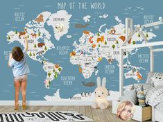 World Map Wall mural Children Map with animal map wallpaper Nursery Wall art removable wallpaper self adhesive geography wall decor Kids Room Design adhesive Animal art Children Decor geography Map Mural Nursery Removable wall Wallpaper World Map Nursery, Nursery Wallpaper, Fabric Wallpaper, Nursery Wall Murals, Babies Nursery, Bedroom Murals, Mural Wall, Kids Wall Decals, Photo Wallpaper