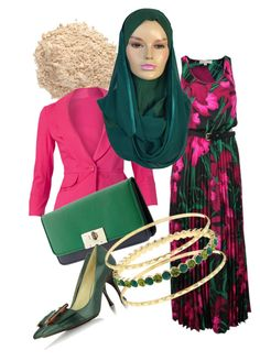 """Colourful in emerald green Kuwaiti hijab"" by modestfashion ❤ liked on Polyvore"
