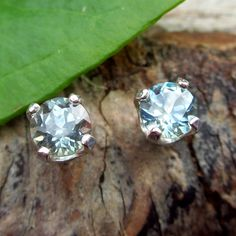 Genuine Montana sapphire stud earrings, with recycled sterling silver settings…