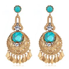 Shop the Elizabeth Cole Chandelier Turquoise Earrings and Designer Jewelry Collection at HAUTEheadquarters.com