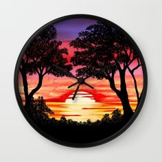 Sunset - Nature's Gift Wall Clock by Tracey Lee Art Designs