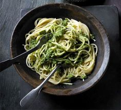 Kale pesto - This leafy green cabbage-like vegetable is a genuine superfood - it's great whizzed up in place of basil in an Italian sauce. Genuinely delicious even if you don't like kale Pesto Pasta Recipes, Kale Recipes, Bbc Good Food Recipes, Vegetarian Recipes, Cooking Recipes, Healthy Recipes, Candida Recipes, Pesto Recipe, Savoury Recipes