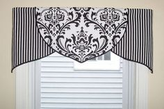 Custom Black White Damask Tulip Valance ORDER ONLY in Home & Garden, Window Treatments & Hardware, Curtains, Drapes & Valances Bathroom Window Coverings, Kitchen Window Valances, Bathroom Window Curtains, Valance Window Treatments, Kitchen Window Treatments, Bathroom Windows, Cornices, Bedroom Curtains, Kitchen Curtains