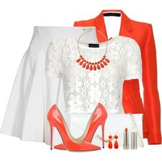 """""""Tangerine and White"""" by brendariley-1 on Polyvore"""