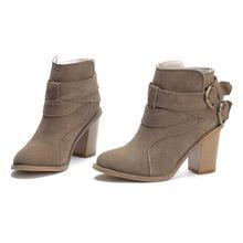 Высокое качество из натуральной кожи сапоги толстый высокий каблук ботильоны для женщин круглым носком простой туфли-осень зимняя обувь(China (Mainland))