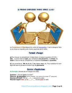 LE PRONOM COMPLÉMENT D'OBJET DIRECT (C.O.D.)Le Complément d'Objetdépend du verbe de laproposition. Il sert à désigner l'êtreou la chose sur laquelle porte l'ac…