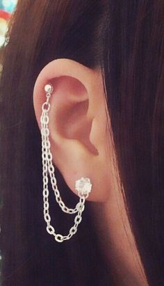Rhinestone Cartilage Chain Earrings Double Lobe by SimplyyCharming