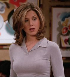 Lovely shirt.  Jennifer Aniston/Rachel Green in Friends, season 3.