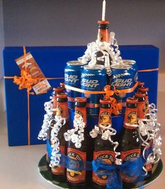 "Broncos beer ""cake"" for my boyfriend's Birthday!"