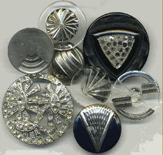 Assortment of glass and metal buttons with classic Art Deco designs.