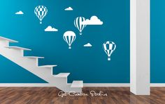 Hot Air Balloon Decal Wall Sticker Balloons Decal Sky Float Cloud Decal Festival Decal Around The World Travel Air Oz Baby Room Home Decor