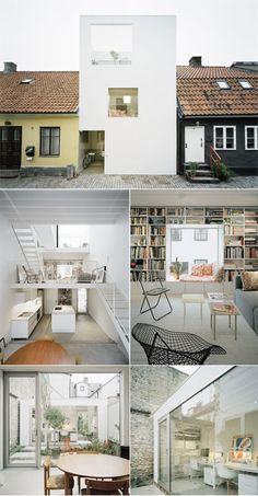 Stark white townhouse in Landskrona, Sweden by Elding Oscarson Architecture. (Photo by: Åke E:son Lindman). The 125 sq/m house has been constructed on a compact 75 sq/m plot, and contrasts sharply with the neighbouring buildings. Small Japanese House, Interior Architecture, Interior And Exterior, Narrow House Plans, Warehouse Living, Townhouse Designs, Compact House, Loft House, Small House Design