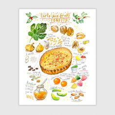 Christmas pie recipe print, French christmas candied fruit tart poster, 8X10 art print, Provence food, Kitchen wall decor, Christmas gift by lucileskitchen on Etsy