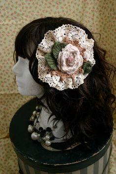 Knit Rose and Lace headdress lolita Hair Accessory, pin, clip, or brooch Mori Girl. $25.00, via Etsy.