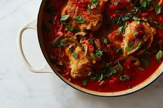 Chicken Cacciatore recipe on Food52 (G's note:  To double the recipe just double the number of chicken breasts ONLY.  Add a bit more heat!)