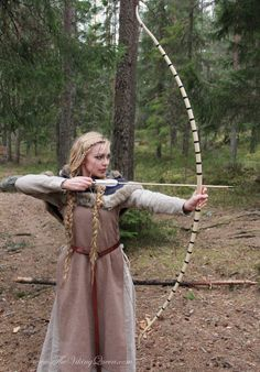 """""""The Viking Queen"""", with a traditional longbow."""
