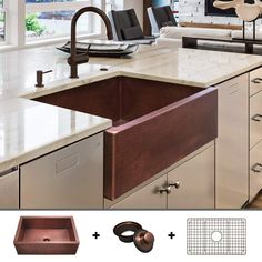 Top-Rated Farmhouse Copper Sinks! Discover the best apron-front copper sinks for your kitchen. Copper sinks are very durable and the material is wonderful inside farm homes. Cast Iron Farmhouse Sink, Farmhouse Apron Sink, White Farmhouse Sink, Fireclay Farmhouse Sink, Copper Farmhouse Sinks, Copper Sinks, Beach Theme Kitchen, Kitchen Themes, Rustic Aprons