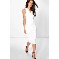 Boohoo Sonia Lace Top Plunge Bodycon Dress   Boohoo (18,355 KRW) ❤ liked on Polyvore featuring dresses, ivory, bodycon cocktail dress, white bodycon dress, lace cocktail dress, ivory lace cocktail dress and ivory dress