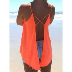 Sexy Strappy Backless Criss-Cross Solid Color Chiffon Top For Women