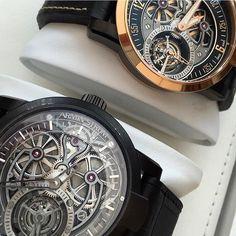 Two unique tourbillon by Armin Strom. #arminstrom #yorkville #EBillion #watches #watchcollector #watchporn #wristporn #timepiece #luxury #tourbillon #luxurylife #luxurywatch #luxurylifestyle #luxurybrands #horology by ebillion