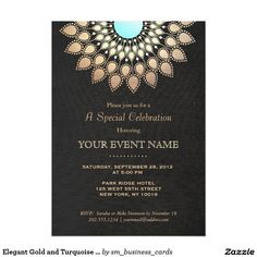 Elegant Gold and Turquoise Lotus Black Formal 5x7 Paper Invitation - Chic and elegant with a new age touch. Realistic digital image of rich black linen background gives a rich glamorous and stylish feel. Beautiful faux gold leaf mandala lotus flower inspired rosette decoration with turquoise blue center. Easily customize backside to your desired color. Great for healing arts professionals, evening weddings, elegant birthday parties, bridal showers, formal cocktail or dinner parties and more.