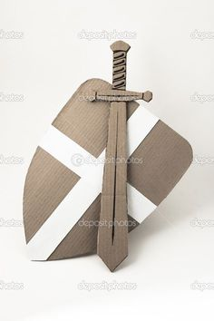 photo of medieval sword and shield made of cardboards. this… - Ritter Kostüm Kinder Cardboard Sword, Cardboard Costume, Diy Cardboard, Dragon Birthday Parties, Dragon Party, Costume Chevalier, Projects For Kids, Crafts For Kids, Sword Craft
