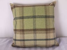 Highland Mist Tartan 16n x 16in Cushion Cover in Pale Green: Amazon.co.uk: Kitchen & Home