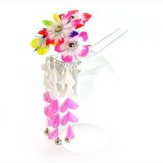 Japanese Maiko Geisha Kimono 'Hana' Floral Kanzashi Hair Ornament w/ Prong -95 >>> Click image for more details.
