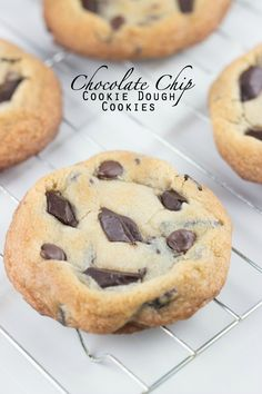 Chocolate Chip Cookie Dough Cookies | Crunchy cookie exterior with a raw cookie dough interior via sweetasacookie.com