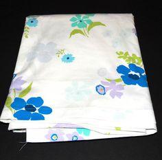 Sears Standard White Flat Sheet Floral Permaprest