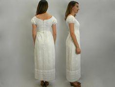 60s White Cotton Maxi Dress Wedding Long от GlennasVintageShop